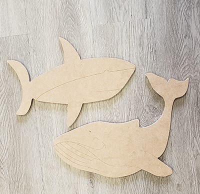 DIY Home Kit: Medium Shark and Whale Art Board Kit - Etched and Ready to Paint