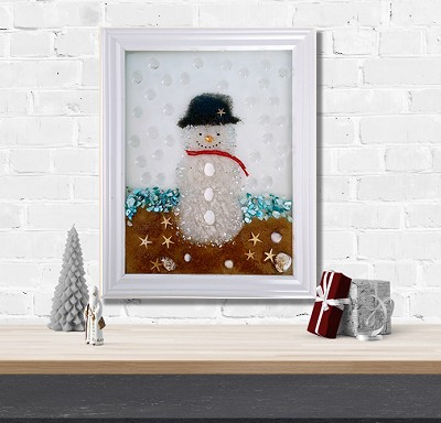 "October 24th Saturday 2:00 PM Epoxy Resin ""Snowman ln the Beach"" Zoom Event"