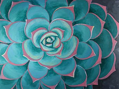 Succulent Acrylic Painting on Canvas Art Kit