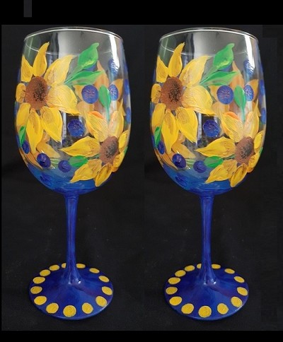 Sunflower Funflower Wine Glasses - Set of 2